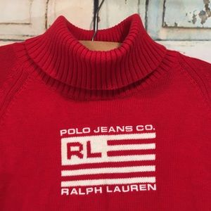 Vintage Ralph Lauren Polo Red Sweater Size XL